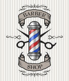 Barber shop emblem. Barber pole,scissors and ribbon for text in an old vintage style. Option in color stock illustration