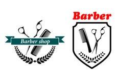 Barber Shop-Embleme oder -aufkleber Stockfoto