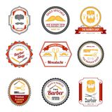 Barber Shop Emblems Colored Royalty Free Stock Photography