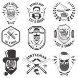 Barber Shop Emblems Ensemble des outils de coiffeur Hairstyl différent Illustration de Vecteur