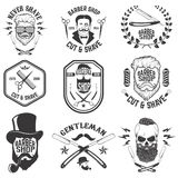 Barber shop emblems. Set of the barber tools. Different hairstyl Royalty Free Stock Photos