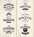 Barber Shop Emblems. Vector set of vintage barber shop emblems vector illustration