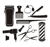 Barber shop equipment - pictogram Royalty Free Stock Photos