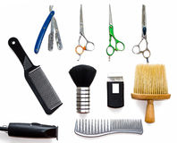 Barber shop equipment tools on white background. Professional hairdressing tools. Comb, scissor, clippers and hair trimmer isolate Stock Photos