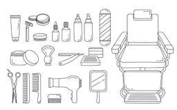 Barber Shop Equipments Set, contour Image stock