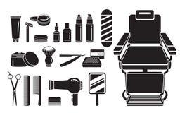 Barber Shop Equipments Set, monochrome Photo libre de droits