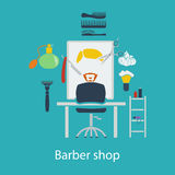 Barber shop flat design Royalty Free Stock Photography