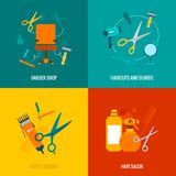 Barber shop flat icons composition. Barber shop 4 flat icons of haircut and beards neckline trimming service composition abstract isolated vector illustration Royalty Free Stock Photos