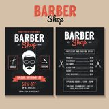 Barber shop flyer template. Price list and special offer stock illustration