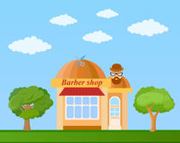 Barber shop front view on nature background,  illustration Stock Photo