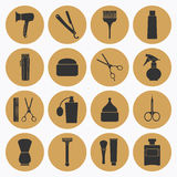 Barber Shop golden icons collection Stock Images