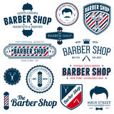 Barber shop graphics. Set of vintage barber shop graphics and icons stock illustration