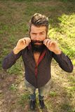 Barber shop. Hair style. Top view of man with beard. Barber shop. Hair style. Top full length view of one handsome strong stylish male logger of young man with stock photography
