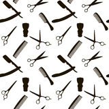Barber Shop or Hairdresser background, seamless pattern with hairdressing scissors, shaving brush, razor, comb for man Stock Image