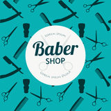 Barber Shop or Hairdresser background set with hairdressing scissors, shaving brush, razor, comb for man salon vector. Illustration for baber shop Stock Image