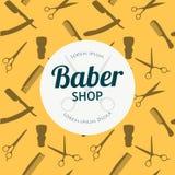 Barber Shop or Hairdresser background set with hairdressing scissors, shaving brush, razor, comb for man salon vector Royalty Free Stock Photo