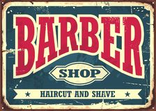 Barber shop hipster haircut and shave vintage sign template stock illustration