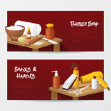 Barber Shop Horizontal Banners avec les outils de la mode des hommes Salon de coiffure Photo stock