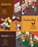Barber Shop Horizontal Banners isométrique Photo libre de droits