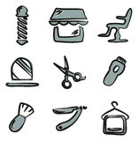 Barber Shop Icons Freehand 2 Color Royalty Free Stock Photos