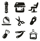 Barber Shop Icons Freehand Fill Immagine Stock