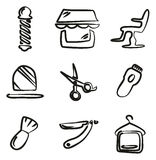 Barber Shop Icons Freehand Stock Photography