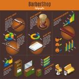Barber Shop Infographic Template isométrica libre illustration