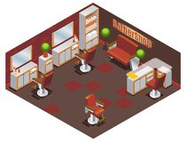 Barber Shop Interior Concept isométrique Images libres de droits