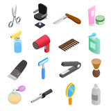 Barber shop isometric 3d icons Stock Photo