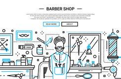 Barber Shop In la ville - bannière de site Web Image libre de droits