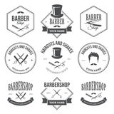 Barber Shop Labels. Set of black barber shop labels in vector isolated on white background stock illustration