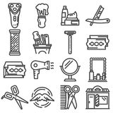 Barber shop line icons set, outline  symbol collection Stock Photography