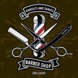 Barber Shop Logo avec le poteau de coiffeur dans le style de vintage Illustration Libre de Droits