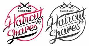 Barber shop logo. Barber shop haircut and shaves logo with scissors royalty free illustration