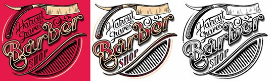 Barber shop logo. Logotype for barber shop with razor and hair brush vector illustration