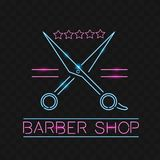 Barber shop logo neon sign, logo design elements. Can be used as a header or template for logos, labels, cards. Neon Signboard, Br stock image