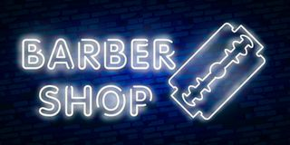 Barber shop logo neon sign, logo design elements. Can be used as a header or template for logos, labels, cards. Neon Signboard, Br. Ight Lighting Advertising vector illustration