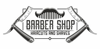 Barber shop logo. With razors and comb stock illustration