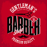 Barber shop logo with scissors and mustache. Scissors and mustache on barber shop logo or logotype. Man place for shaving beard and haircut, premium quality Royalty Free Stock Images