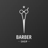 Barber Shop Logo Scissors Star. Barber Shop logo with Text Scissors and Star on top vector illustration