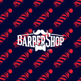 Barber shop logo on seamless pattern with barber poles, vector illustration Royalty Free Stock Photo