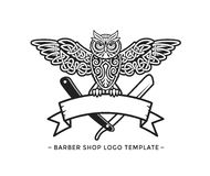 Barber Shop Logo Template. Celtic Owl Vector Illustration. Wise Owl on the Ribbon Vector Illustration. Logo Template Royalty Free Stock Photos