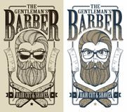 Barber shop logo. Vector hipster barber shop logo vector illustration