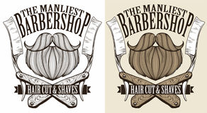 Barber shop logo. Vector hipster barber shop logo royalty free illustration