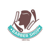 Barber shop logo or vector icon of man head and scissors for barbershop salon, premium hairdresser coiffeur. Or hipster trend haircutter Stock Image