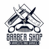 Barber shop logo. Barber shop vintage label with comb, razors and scissors vector illustration