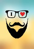 Barber shop for men's style with image of a man with a beard. And mustache on design background Royalty Free Illustration
