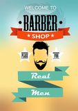 Barber shop for men's style with image of a man with a beard. And mustache on design background Stock Illustration