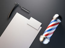 Barber shop mock up with pole. 3d rendering. Barber shop mock up with red, blue pole. 3d rendering Stock Image