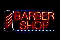Barber shop neon sign Stock Image